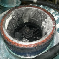 Corrosion caused by a leaking intake pipe in a marine application